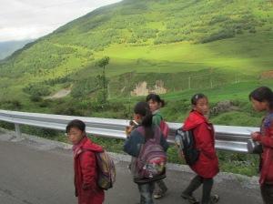 Children on their walk home from school