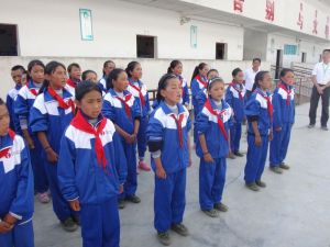 Girls singing for us upon our arrival.