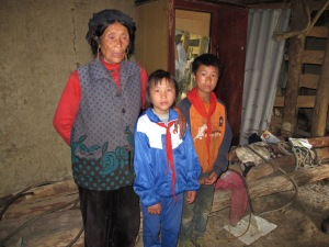 Inside Sai Zi's home with her Grandmother and Brother
