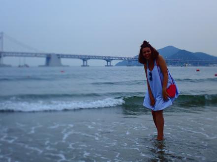 Maggie at Gwangalli Beach