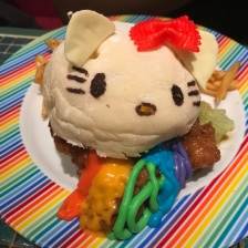 A scary hello kitty burger
